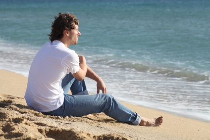Man thinking and watching the sea