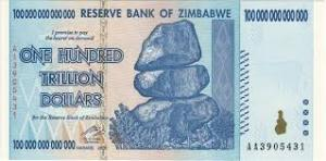 100 milliards de milliards de dollars Zimbabwe...